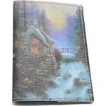 Кожаная обложка на паспорт. Домик у водопада