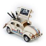 """Модель Ретро """"Автомобиль"""" белый, с фоторамкой и подставкой для ручек"""