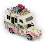 """Модель Ретро """"Автомобиль"""" белый с розовым фургон, с фоторамкой"""