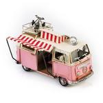 """Модель Ретро """"Автобус"""" белый с розовым, с фоторамкой"""