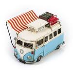 """Модель Ретро """"Автобус"""" белый с голубым, с фоторамкой"""