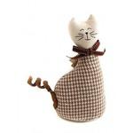 Мягкая интерьерная игрушка. Кошка в клетку (22 см)