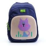 Пиксельный рюкзак с ортопедической спинкой Kids. Сиреневый Кот