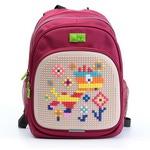 Пиксельный рюкзак с ортопедической спинкой Kids. Веселый жираф (малиновый)