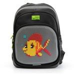 Пиксельный рюкзак с ортопедической спинкой Kids. Рыбка (серый)
