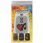Набор пикселей-битов для рюкзаков Case. 3 картинки. Я люблю музыку, Смайлик, Буквы