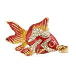 Ювелирная флешка-кулон. Рыбка в стразах (цвет красный)