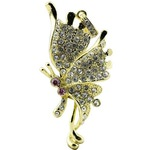 Ювелирная флешка-кулон. Бабочка Мотылек в стразах (цвет золото)