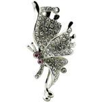 Ювелирная флешка-кулон. Бабочка Мотылек в стразах (цвет серебро)